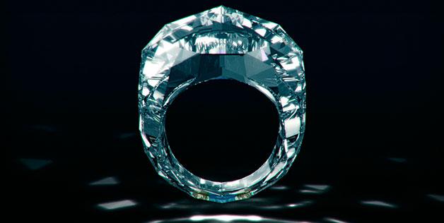 's Werelds eerste volledige diamanten ring
