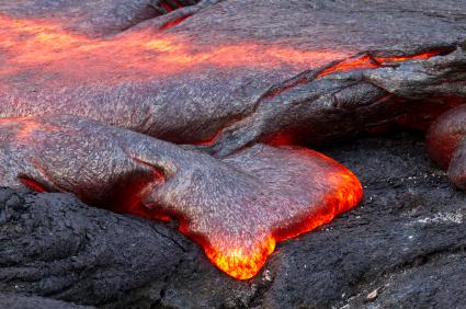 Vulkanisch stromend lava